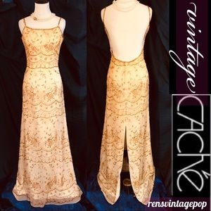 Vntg Beaded Gold & Cream Silk Gown